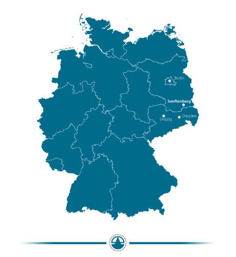 Standort von Senftenberg im Dreieck Berlin-Leipzig-Dresden